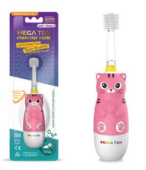 Детская электрическая зубная щетка MegaTen Kids Sonic | Котенок